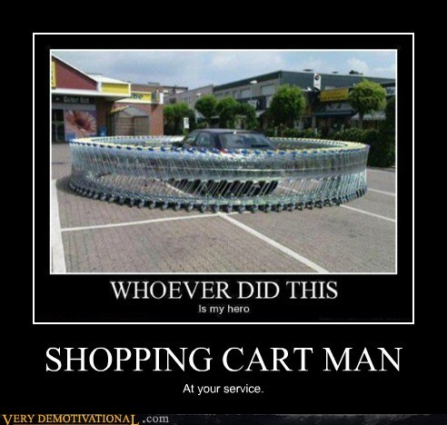 car,hilarious,shopping cart,superhero,troll,wtf