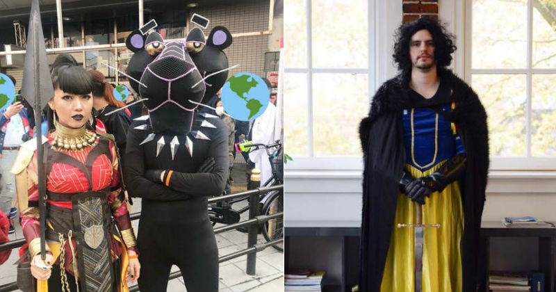 funny cosplays of puns such as john snow white and black pink panther