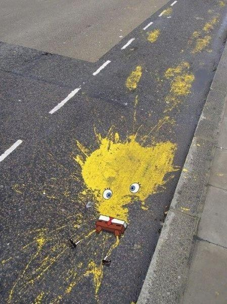 Spongebob Roadkill Street Art