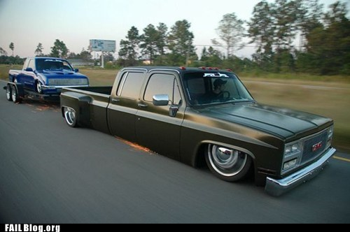 cars,fail nation,g rated,Hall of Fame,lowrider,stupidity,too low,towing,truck
