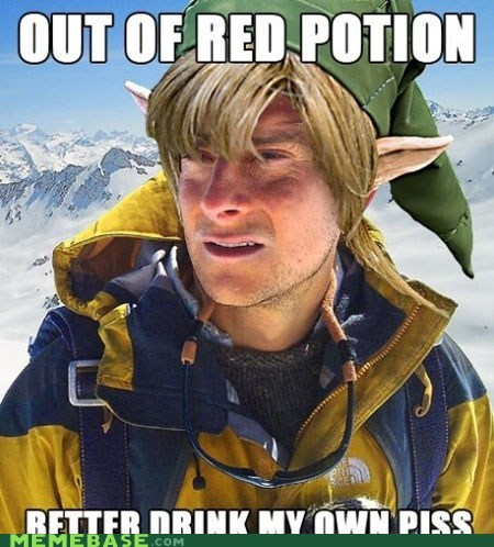 bear grylls,health,link,red potion,Sad,video games,yellow,zelda