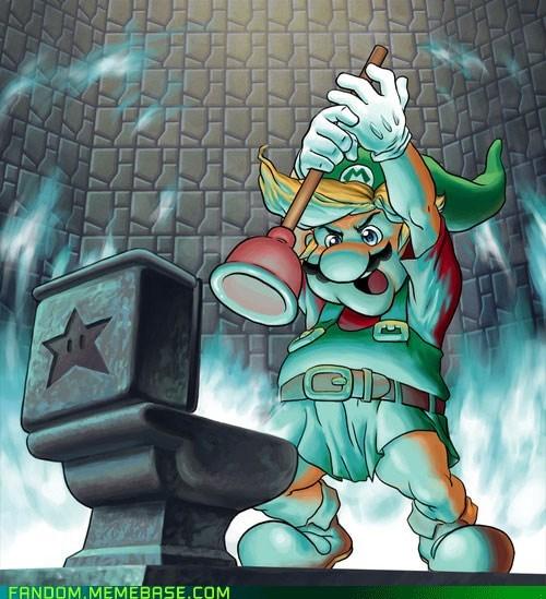 crossover Fan Art legend of zelda mario Super Mario bros - 5521920256