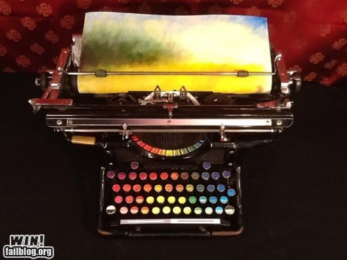 art,modified,painting,pretty colors,typewriter,writing
