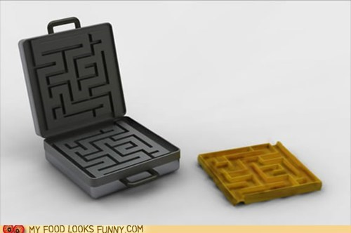briefcase,maze,syrup,waffle iron,waffles
