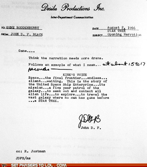 Captain Kirk gene roddenberry monologue space Star Trek William Shatner writing - 5522241280