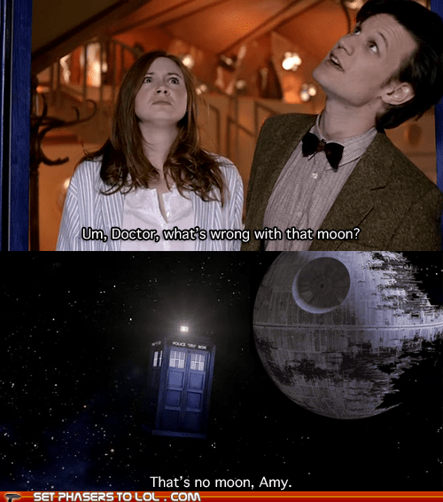 amy pond,Death Star,doctor who,karen gillan,Matt Smith,star wars,tardis,thats-no-moon,the doctor