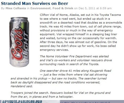 alaska,beer,booze news,drinking,stranded,survival
