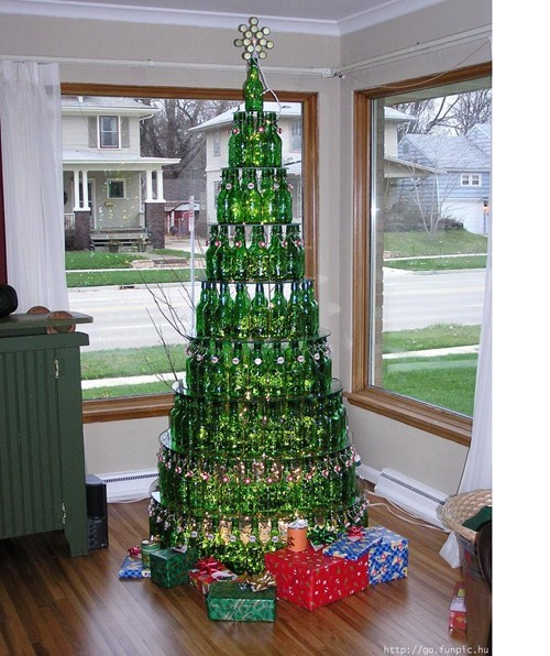 alcohol,beer,beer bottles,christmas tree,decorations,recycling