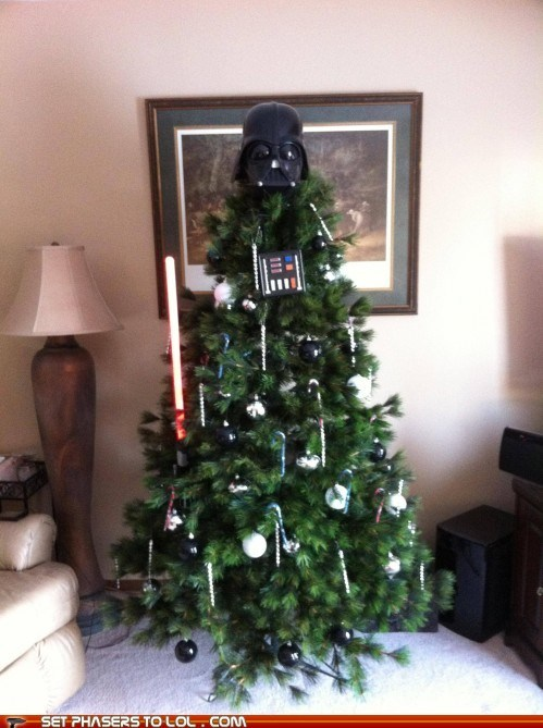 christmas tree,darth vader,light saber,ornaments,star wars