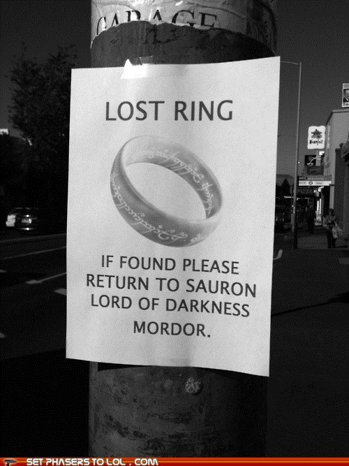 best of the week Lord of the Rings lost mordor sauron the one ring - 5523102720