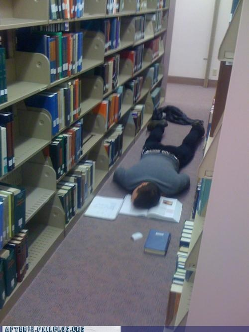 college dead exams finals finals week floor library passed out school studying - 5523449856