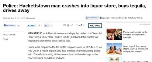 booze news,drunk driving,getaway,liquor store,New Jersey,tequila
