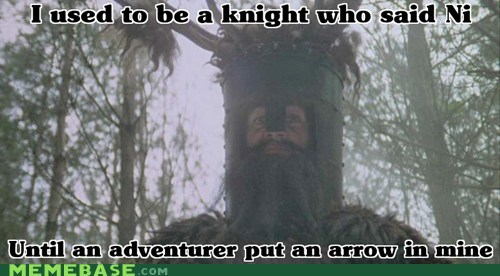 adventurer,arrow,knights,Memes,monty python,ni,shrubberies