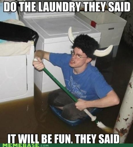 chores,fun,laundry,mom,They Said,ugh,vikings,water