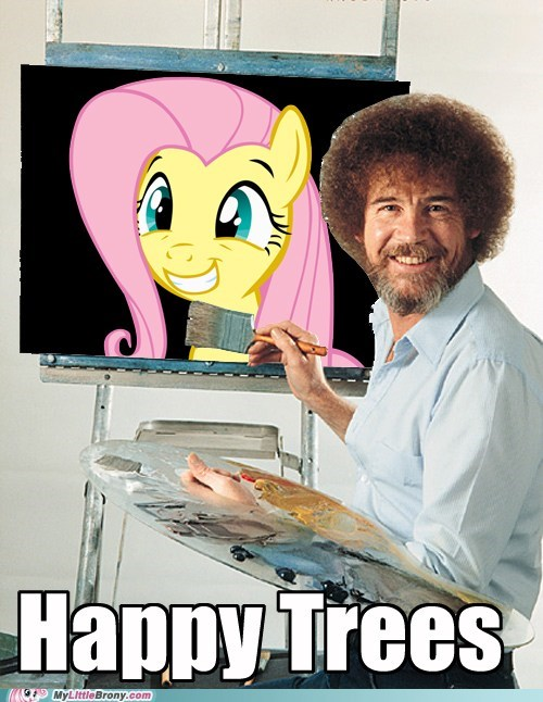 bob ross,fluttershy,happy trees,meme,painting
