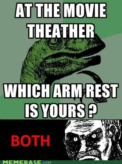 arm rest,coke,movies,philosoraptor,slurpee,theater