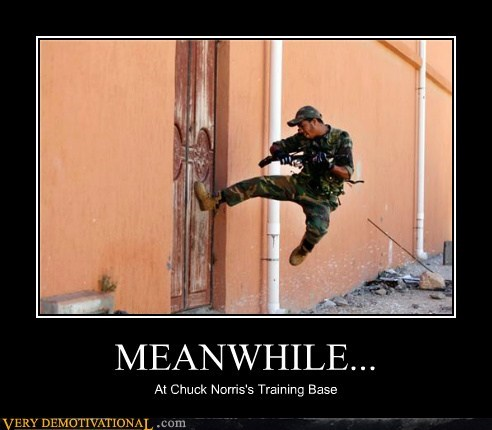 MEANWHILE... At Chuck Norris's Training Base