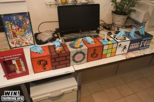 clever,design,gamecube,kleenex,nerdgasm,Portal,Super Mario bros,tissue,tissue box,video games