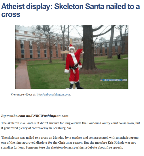art,atheism,consumerism,creepy,cross,display,news,santa
