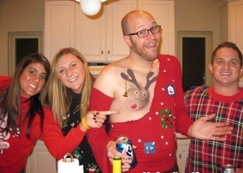 alcohol,beer,chest hair,christmas sweater,drinking,fashion,gross,Holiday party,Party,rudolph