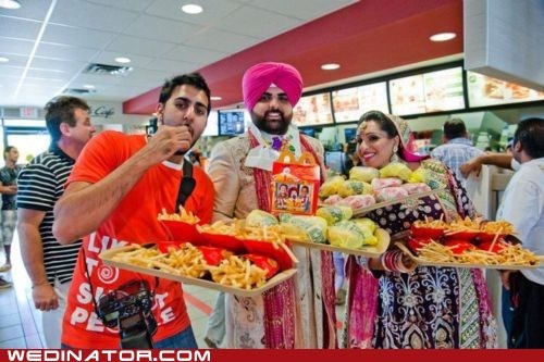 bride,food,funny wedding photos,groom,McDonald's,traditional