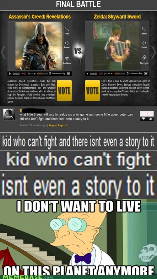 assassins creed,fight,i dont want to live on this planet anymore,some queer peter pan kid,story,video games,what,zelda