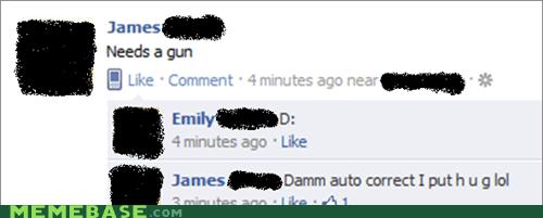 autocorrect facebook gun hug - 5527156992