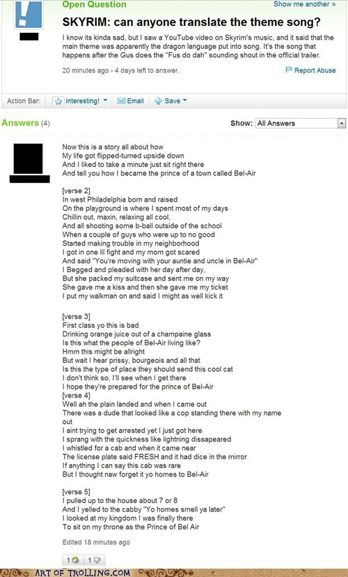 Skyrim the fresh prince of bel-air themesong Yahoo Answer Fails - 5527236864