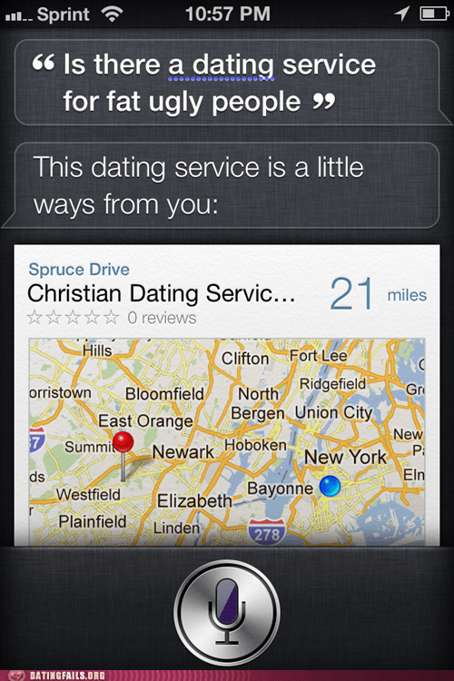 atheist,bitter,christian,dating,dating service,iphone,Maps,siri,We Are Dating
