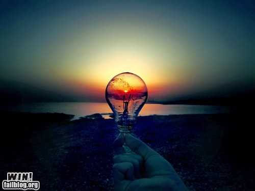 art,beach,clever,light bulb,perspective,photography,sun