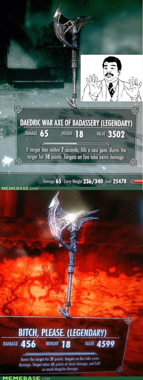 axes Badass legendary please Skyrim video games - 5527544064