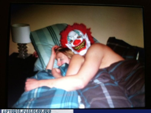 clown drinking morning after one night stand what have I done
