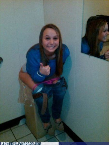 drunk,photo op,pooping,thumbs up,toilet,trash can,woo girls
