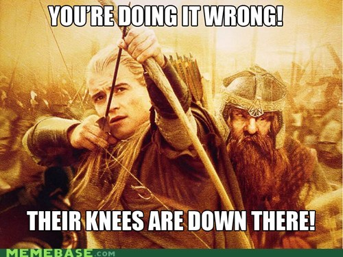 arrow,gimli,knees,legolas,Lord of the Rings,Memes,Skyrim,video games