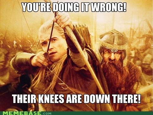 arrow gimli knees legolas Lord of the Rings Memes Skyrim video games - 5527911936