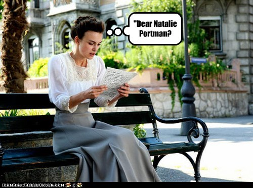 dear,Keira Knightley,letters,look alikes,natalie portman,reading