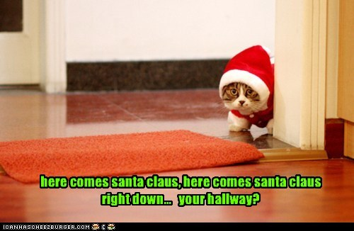 shhh, i hear reindeer toes on the roof here comes santa claus, here comes santa claus right down... your hallway?