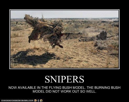 SNIPERS NOW AVAILABLE IN THE FLYING BUSH MODEL. THE BURNING BUSH MODEL DID NOT WORK OUT SO WELL.