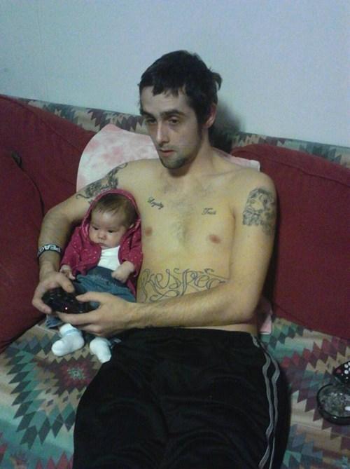baby bonding dad Father nerdgasm Parenting Fail tattoo video games - 5530098176