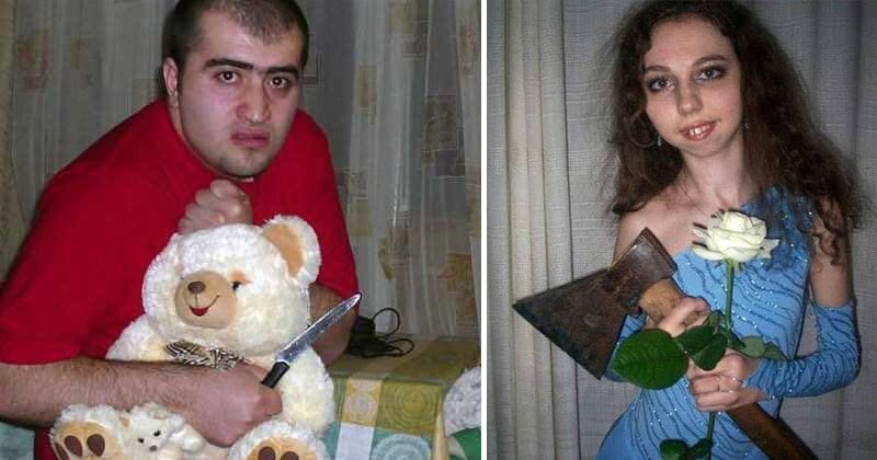 Funny russian dating pics | scary man holding a stuffed teddy bear and a knife | skinny woman holding a white rose and a hatchet