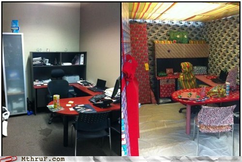 christmas cubicle prank friday Pranked on Vacation