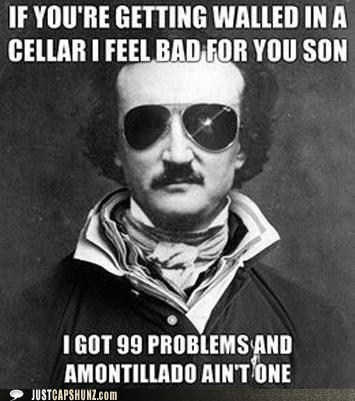 99 problems,cask of amontillado,edgar allen poe,i got 99 problems,poe,sunglasses