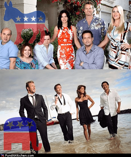 conservatives,Cougar Town,democrats,hawaii 5-0,political pictures,Republicans,television