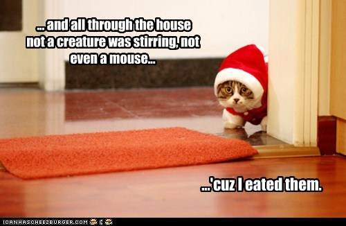 ... and all through the house not a creature was stirring, not even a mouse... ...'cuz I eated them.