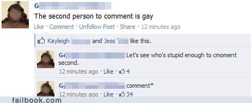 comment facebook facepalm failbook g rated oops social media spelling you spelled homophobe wrong your friends are laughing your friends are laughing at you - 5530649600