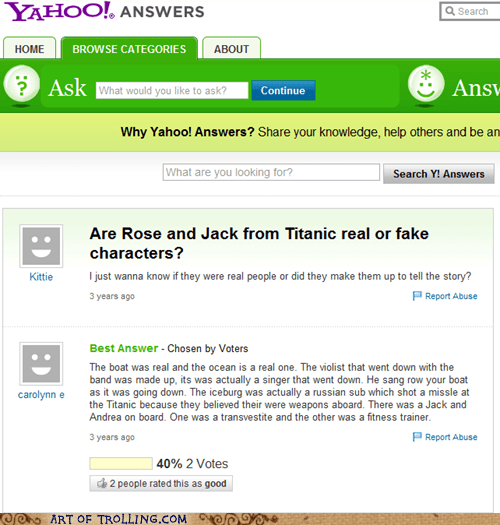 characters ship titanic Yahoo Answer Fails