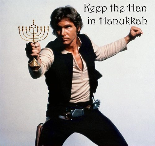 actor celeb funny Han Solo Harrison Ford holiday star wars hannukah - 5531000064