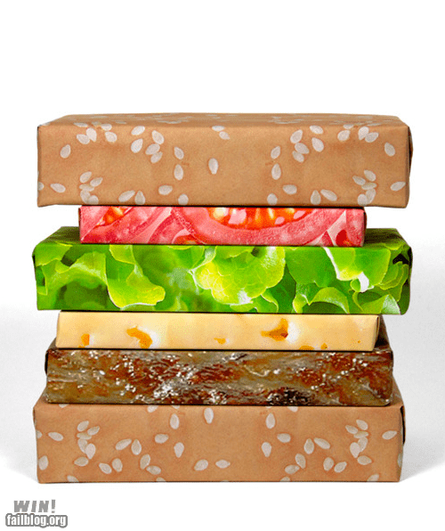 cheeseburger christmas food holidays om nom nom present wrapping paper - 5531093504