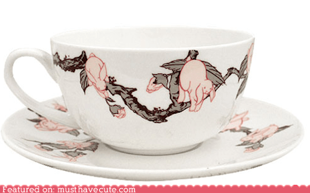 bunnies China dishes pattern print saucer teacup