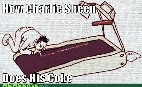 Charlie Sheen,the white stuff,treadmill,winning